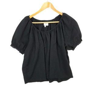 Madewell Texture & Thread XL Black Crinkle Top